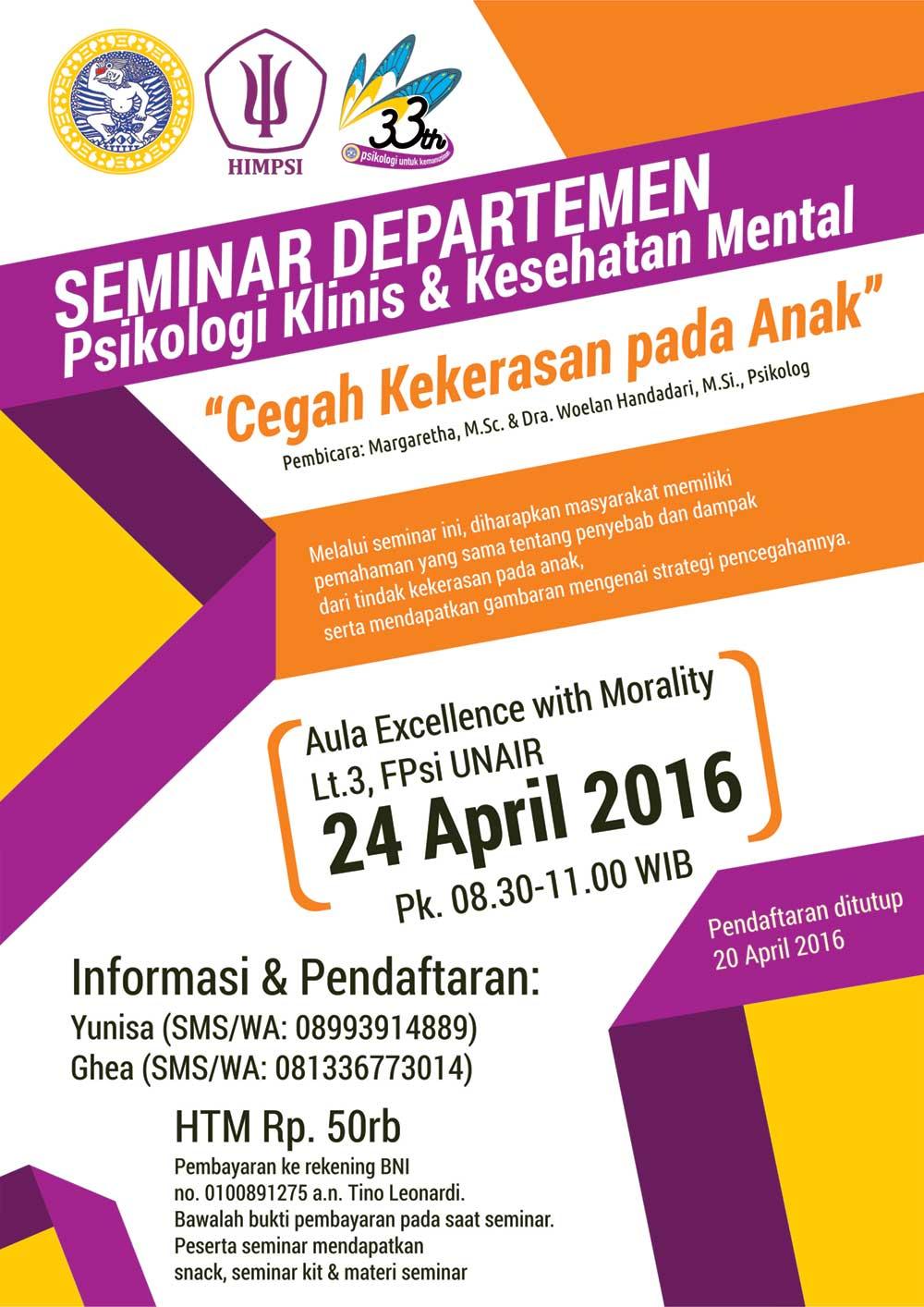 Seminar Departemen Psikologi Klinis & Kesehatan Mental ...