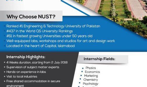 NUST Internship Program for International Student 2018