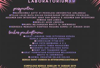 Open Recruitment Asisten Laboratorium Psikologi 3.0