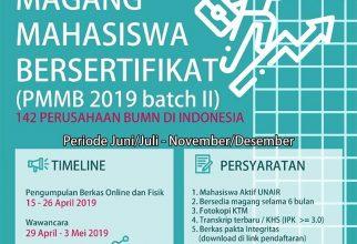 Program Magang Mahasiswa Bersertifikat 2019 (Batch II)