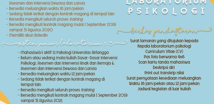 Open Recruitment Magang Laboratorium Psikologi 2019-2020