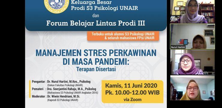 Halal bi Halal dan Forum Belajar Lintas Prodi III: Manajemen Stres Perkawinan di Masa Pandemi (Terapan Disertasi)
