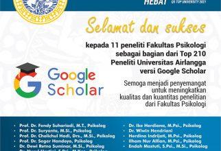 Selamat dan Sukses Top 210 Peneliti Universitas Airlangga Versi Google Scholar
