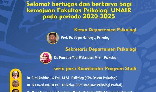 Selamat Bertugas dan Berkarya kepada Ketua & Sekretaris Departemen serta Koordinator Prodi 2020-2025